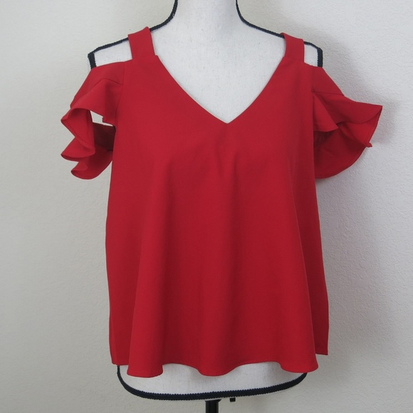 Buddy Love Tops - Buddy Love Red Cold Shoulder Shirt Size S
